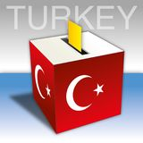 Turkey ballot box vote with flag and symbols Stock Images