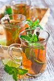 Turlish tea with mint Royalty Free Stock Photography