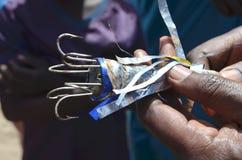 Turlutte, um gabarito alterado usado por pescadores artisanal em Senegal para travar o polvo fotografia de stock royalty free