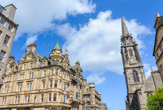Turm des Marksteins Trons Kirche-Edinburgh, Schottland, Großbritannien stockbild