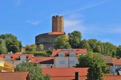 Turm des mittelalterlichen verstärkten Schlosses Steinsberg, Sinsheim, Deutschland lizenzfreies stockbild