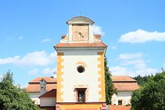 Turm des Renaissancepalastes Kratochvile Stockfotografie