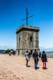 Turm des Schlosses von Montjuic, Barcelona, Spanien Stockbild