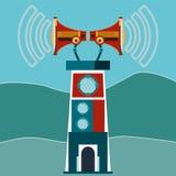 Turm, ein Leuchtturm mit zwei Megaphonen und Schallwellen lizenzfreie abbildung