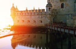 Turm Lissabons, Belem bei Sonnenuntergang Stockfotografie