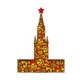 Turm Moskau der Kreml Schattenbild gemaltes Khokhloma Lizenzfreie Stockfotografie
