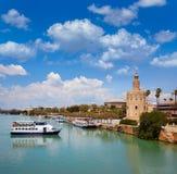 Turm Sevillas Torre Del Oro in Sevilla Andalusia Lizenzfreie Stockfotos