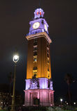 Turm Torre de Los Ingleses English nachts in Buenos Aires stockbild