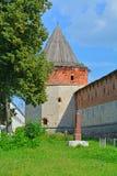 Turm und Wände von Zaraysk der Kreml Stockfotos