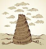 Turm von Babel Blumenhintergrund mit Gras vektor abbildung