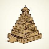 Turm von Babel Blumenhintergrund mit Gras stock abbildung