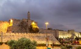 Turm von David am Abend, Jerusalem Stockbild