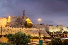 Turm von David am Abend, Jerusalem Stockfotos