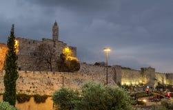 Turm von David am Abend, Jerusalem Stockfoto