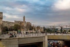 Turm von David im Sonnenunterganglicht, Jerusalem Lizenzfreie Stockfotos
