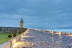 Turm von Herkules in einem Coruna, Galizien, Spanien. stockbild