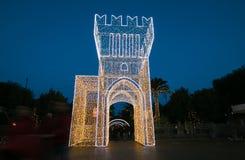 Turm von Lichtern in der historischen Mitte von Civitanova Marken, Italien Lizenzfreies Stockfoto