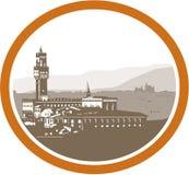 Turm von Palazzo Vecchio Florence Woodcut Stockfotos
