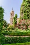 Turm von St. Mary Church, Alhambra von Granada Spanien 17. centu Lizenzfreies Stockfoto
