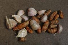 Turmeric και σκόρδο Στοκ εικόνες με δικαίωμα ελεύθερης χρήσης
