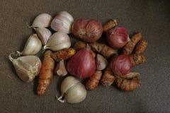 Turmeric, κρεμμύδι και σκόρδο Στοκ Εικόνα