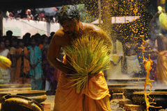 Turmeric bath. Devotees do turmeric bathing during the festival at Amman temple on April 13,2013 in Chengannur, Kerala,India. Turmeric bath is an old temple Stock Photography