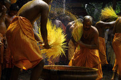 Turmeric bath. Devotees do turmeric bathing during the festival at Amman temple on April 13,2013 in Chengannur, Kerala,India. Turmeric bath is an old temple Stock Photos