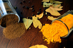 Turmeric and black pepper Stock Image