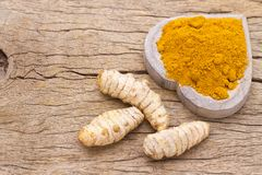 Turmeric in bowl on table, top view.  Stock Photography
