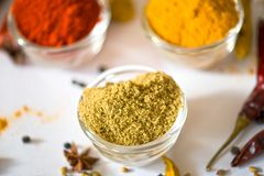 Turmeric Chili Coriander. Turmeric Chili in Bowl Coriander Royalty Free Stock Images