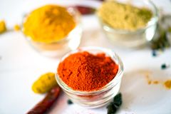 Turmeric Chili Coriander. Turmeric Chili in Bowl Coriander stock images