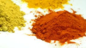 Turmeric, chili, ginger, powder. On turn table stock video footage