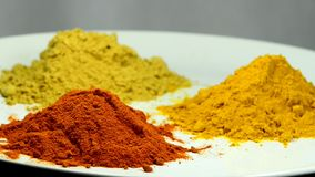 Turmeric, chili, ginger, powder. On turn table stock footage
