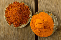 Turmeric and chili powder on silver plates top view Stock Photo