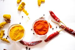 Turmeric Chili. In Bowl Royalty Free Stock Photography