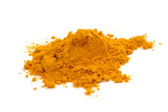 Turmeric (Curcuma) Powder Isolated on White Background Stock Photography
