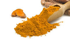 Turmeric. Dust of ground turmeric on the spoon Stock Images