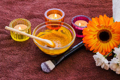 Turmeric face mask set. Preparation of the Turmeric face mask receipt set Royalty Free Stock Image