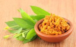 Turmeric with Henna leaves Royalty Free Stock Photos