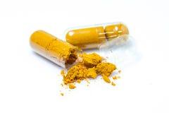 Turmeric herb capsules Royalty Free Stock Photo