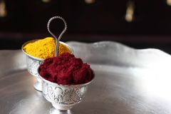 Turmeric and kumkum. Hindu prayer essentials for prayer on a hollyday Royalty Free Stock Images
