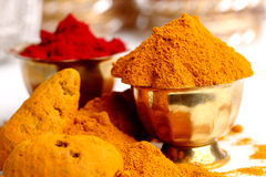 Turmeric & kumkum powder Royalty Free Stock Image