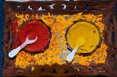 Turmeric and kumkum powder Royalty Free Stock Image