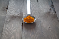 Turmeric in a metal spoon Royalty Free Stock Image
