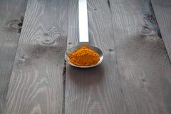 Turmeric in a metal spoon Royalty Free Stock Image