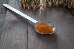 Turmeric in a metal spoon Royalty Free Stock Photo