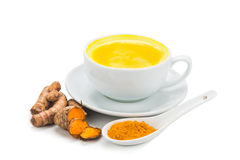 Turmeric with milk drinks good for beauty and health. Royalty Free Stock Photo