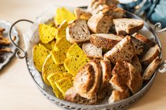 Turmeric nigella bread and whole wheat bread slices Royalty Free Stock Image