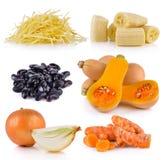 Turmeric, onion, butternut squash, purple beans, banana, ginger Stock Photos