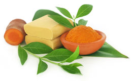 Turmeric with over beautification products Stock Photography